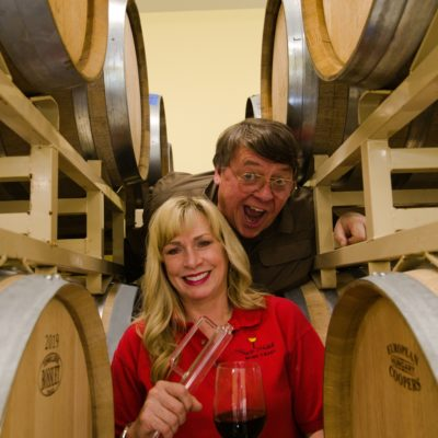 Mark and Maggie Malick having fun in the racks of barrels