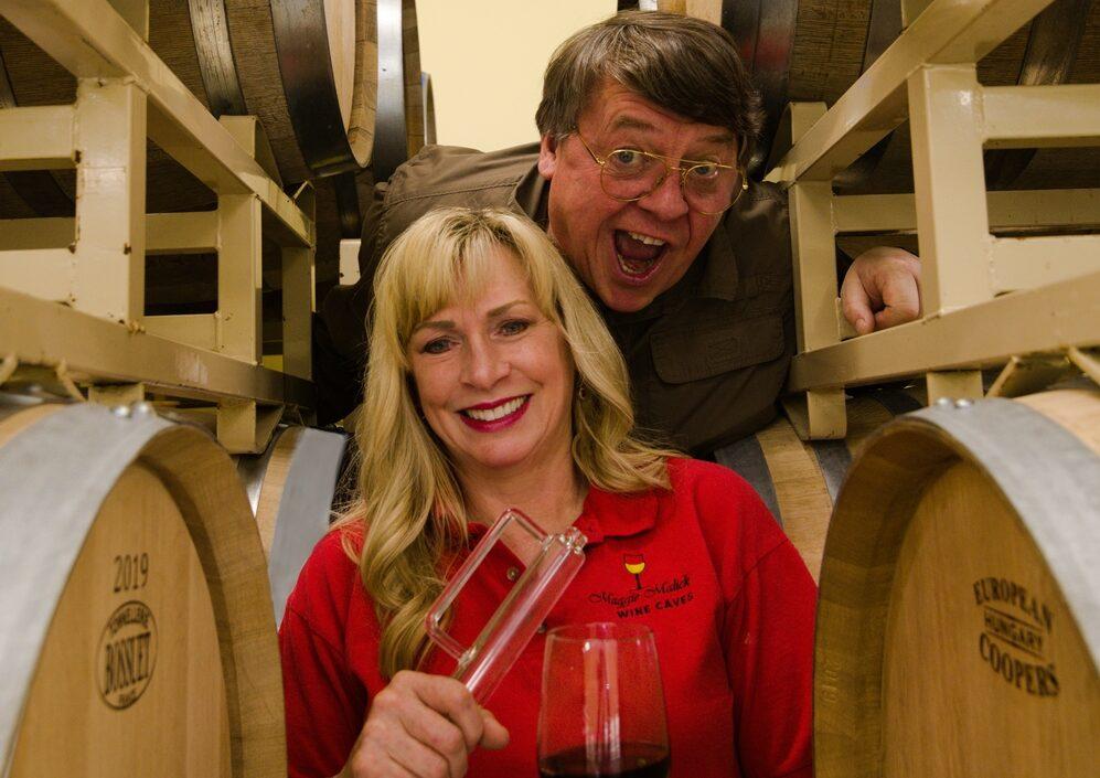 Mark and Maggie Malick having fun in the racks of barrels