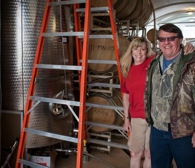 Mark and Maggie Malick during wine cave construction
