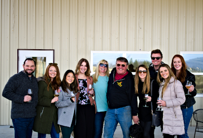 Group of wine lovers with the Maggie and Mark Malick