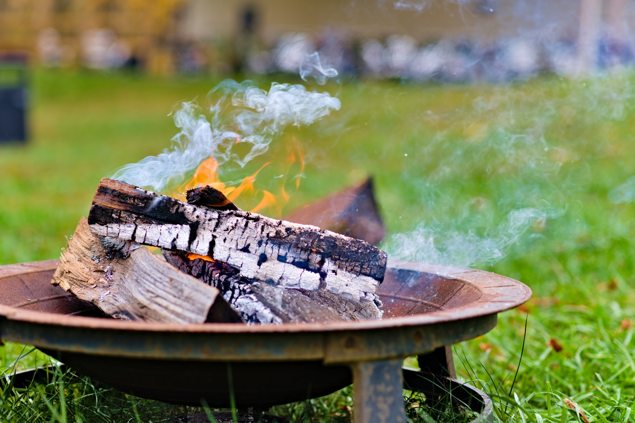 Fire pit with burning wood