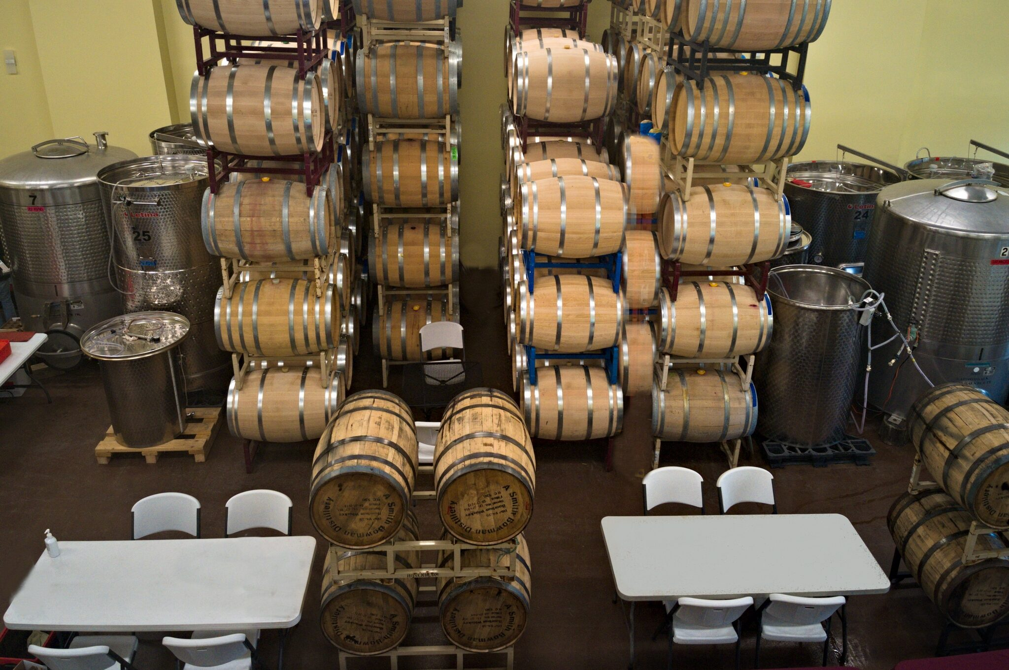 Overhead shot of wine barrels and tanks