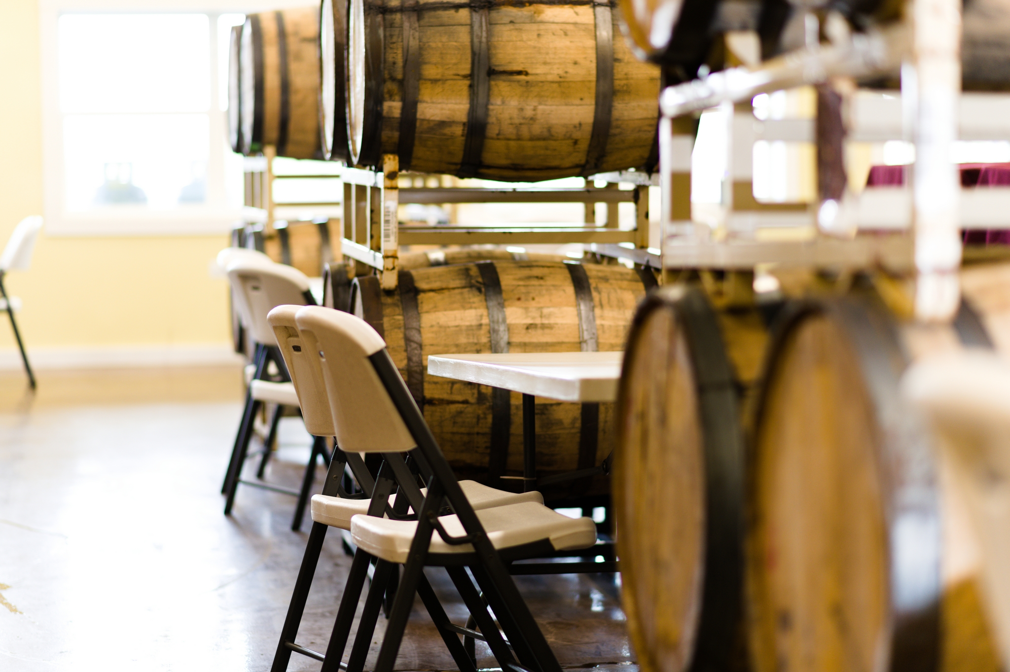 Wine barrels with table and chairs